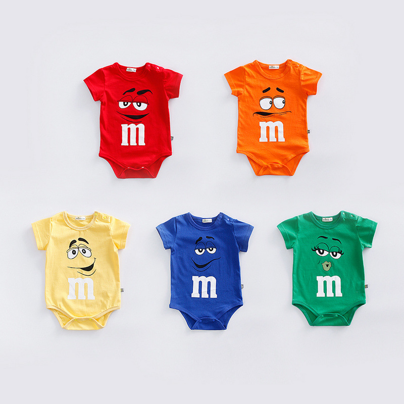 Newborn baby cotton rompers Summer short sleeve soft infant baby clothes bebe roupas  M chocolates candy jumpsuits costume