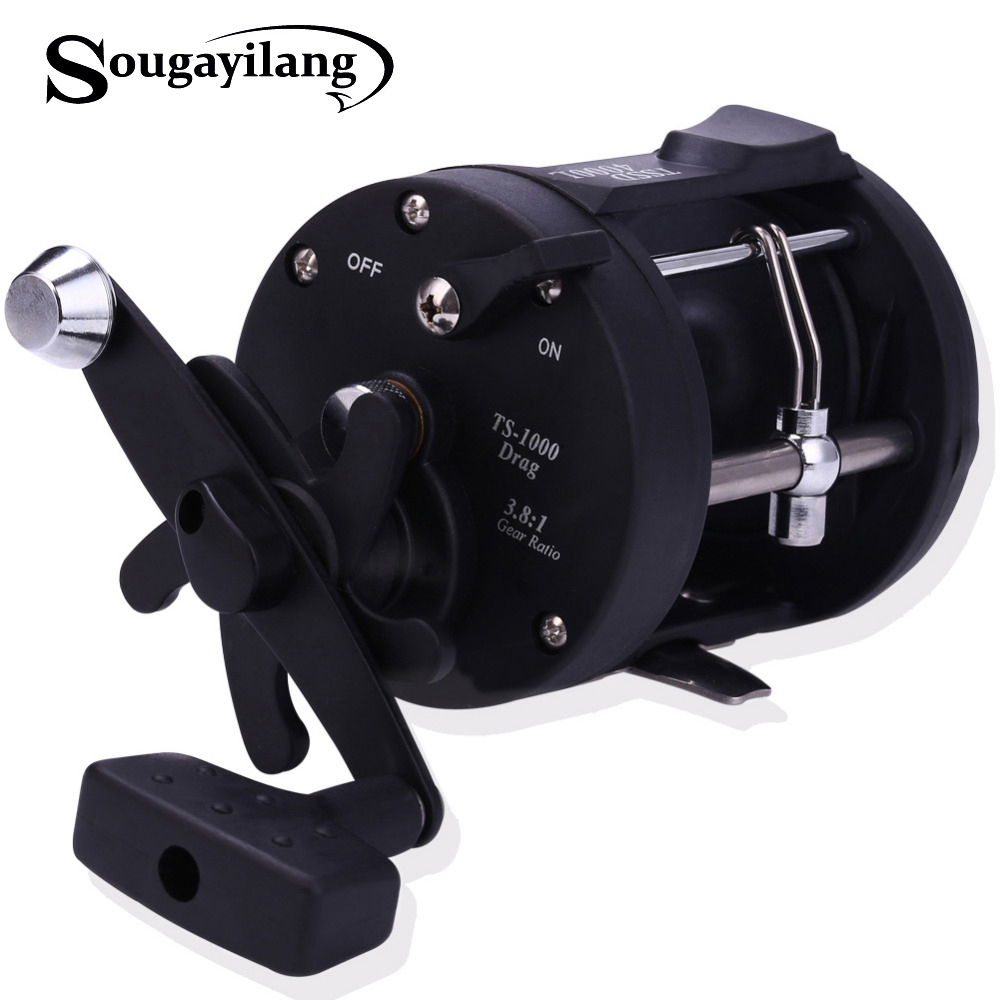 Sougayilang Saltwater Fishing Reels Drum Trolling Right-Hand TSSD Black 3000L-4000L