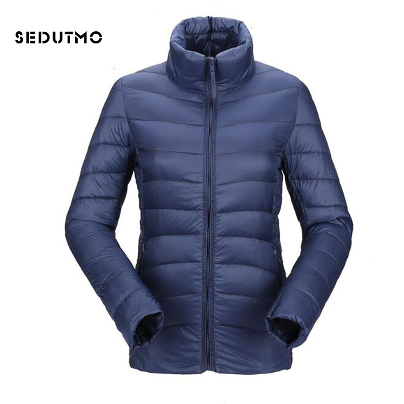 SEDUTMO 2018 Winter Plus Size 3XL Duck   Down   Jackets Womens Ultra Light Short Warm   Coat   Black Thin Spring Puffer Jacket ED338