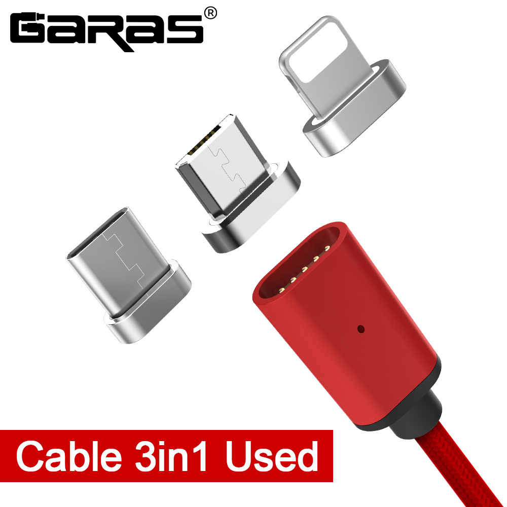 GARAS magnético Cable rayo Micro USB tipo C 3in1 imán para teléfono móvil Cable de carga rápida magnética Micro USB Cable adaptador de Cable