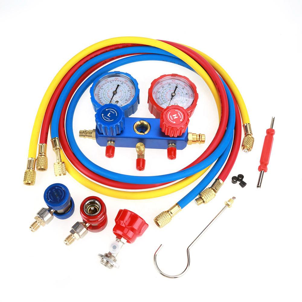 Manifold Dual Gauges R134a Air Conditioning Refrigerant Manifold Gauge Set with 1 5m Charging Hoses Measuring