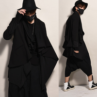 2017 Big yards men's M 5XL clothing Black men coat DJ male two piece medium long loose trench outerwear The singer's clothing