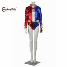 Cosplaydiy Harley Quinn Costume Suicide Squad Adult Women Sexy Halloween Full Set Jacket T Shirt Shorts Clothing Custom Made