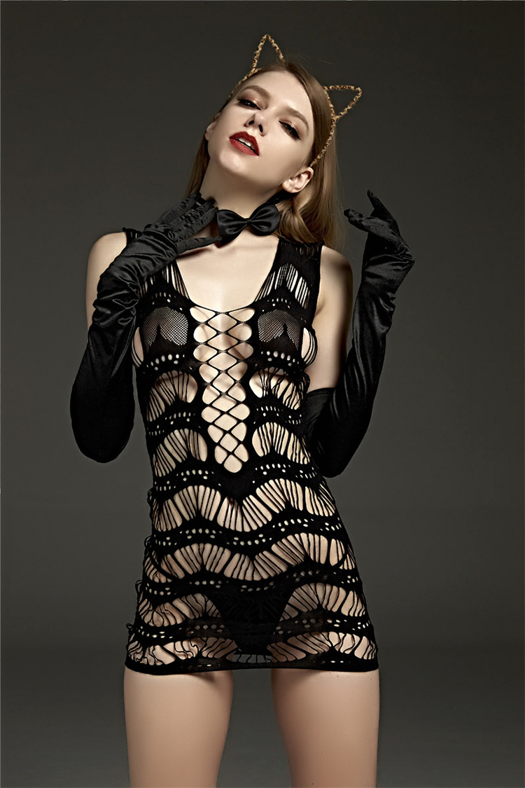 2017 Latex Catsuit Lingerie Costumes Fishnet Women Sexy -3754