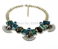 2014 New Arrival Party Gorgeous Woman Glass Light Blue Elegant Wholesale Antique Gold Color Chunky Necklace