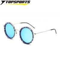 TOPSPORTS поляризационные Ретро женские мужские солнцезащитные очки металлическая оправа с цветами UV400 TAC круглые Светоотражающие линзы очки с...