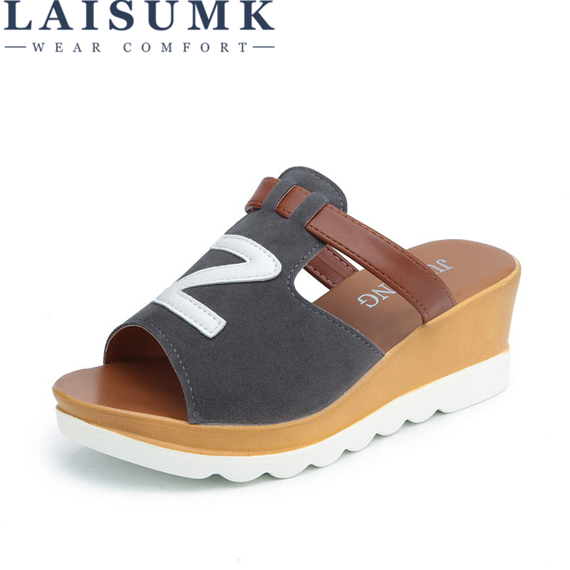 LAISUMK Summer Platform Slippers Women PU Leather Sandals Slides Shoes Wedges