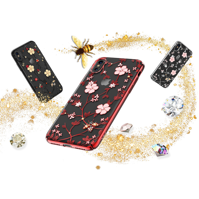 60ce3e38ae KAVARO for iPhone X 10 Case Authorized Swarovski Rhinestones Decor Honeybee  Series Flower Plated PC Case for iPhone X Cover Capa