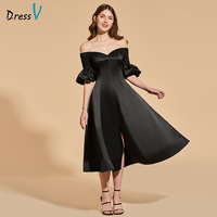 Dressv black cocktail dress off the shoulder short sleeves tea length zipper up wedding party formal dress cocktail dresses