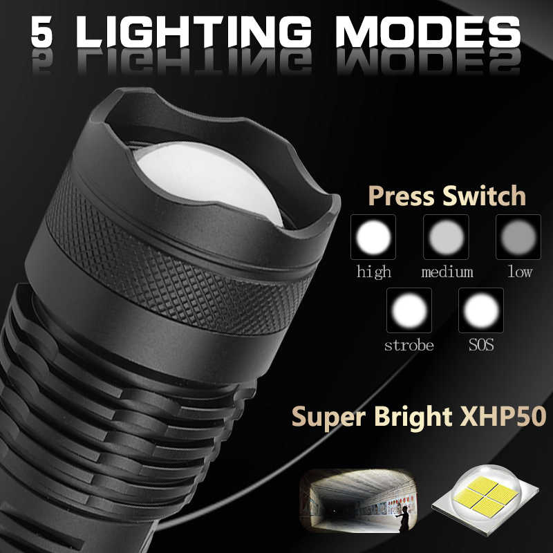 30000 lumens Lamp xhp50.2 most powerful flashlight usb Zoom linterna led torch xhp50 18650 or 26650 Rechargeable battery hunting