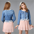 Denim Jacket Lace Jeans Coat Women O-neck Slim Long sleeve Girls' Overcoat All-match Clothing Button Cowboy Wear Short Jackets