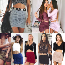 Sexy  Fashion Women Lady High Waist Short Skirt Bandage Bodycon Cross Fold Pencil Skirts 7 Colors
