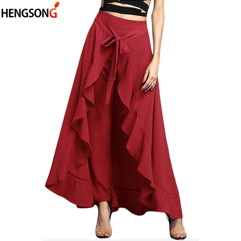 Women   Pants   Lotus Ruffle Irregular Skirt Trousers Bow   Wide     Leg     Pants   High Waist Lace Up Loose Summer   Pants   New