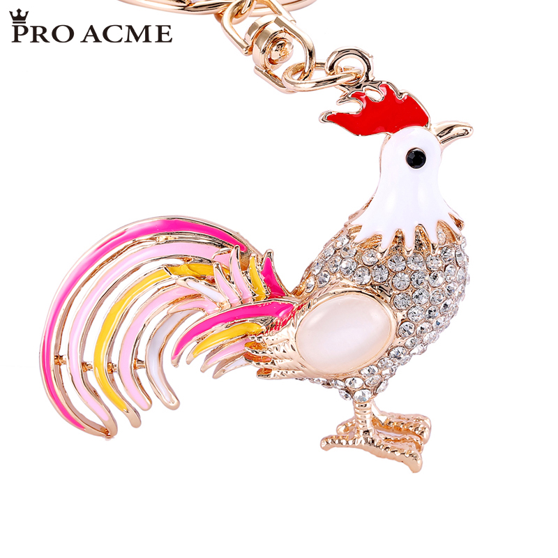 2017 New Arrival Pretty Chic Opals Cock Rooster Keychains Crystal Chicken Key Chain Women Bag Pendant Key ring llaveros PWK0177