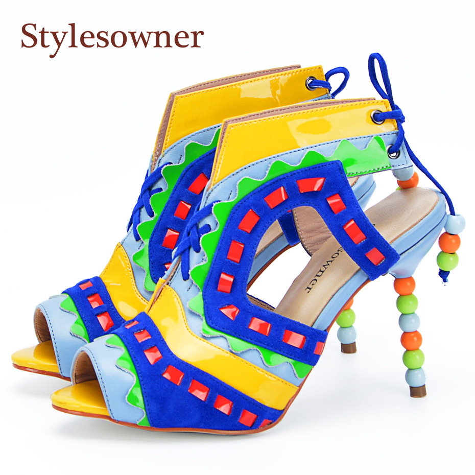 Stylesowner Sweet Style Colorful Pearls Rivets Summer Sandal Shoe Beautiful New Arrival Lace Up Peep Toe Sandallias Top Quality stylesowner elegant lady pumps sandal shoe sheepskin leather diamond buckle ankle strap summer women sandal shoe