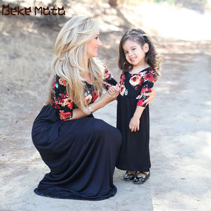 BEKE MATA Mother Daughter Dresses Spring Long Maxi Mommy And Me Clothes Floral Print Family Look Mom Girl Outfits Half Sleeve