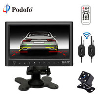 Podofo Wireless 7 Slim Car Rear View Monitor Bluetooth USB MP5 Player With Mini 4 IR LED Lights Backup Camera Night Vision