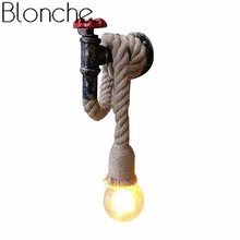 Vintage Wall Light Hemp Rope Wall Lamp Retro Iron Loft Industrial for Living Room Restaurant Decor Sconce Fixtures E27 Luminaire цена 2017