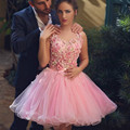 Short Arab Style Cocktail Dresses 2016 Sexy Backless Mini Pink Tulle Flowers