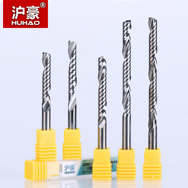 HUHAO 1PC 6mm one Flute Spiral Cutter router bit CNC end mill For MDF carbide milling cutter tugster steel router bits for wood 4mm 12mm free shipping cnc carbide end mill woodworking router bit 1 flute tungsten steel milling cutter pvc mdf acrylic wood
