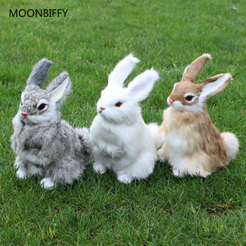 New 3 Kinds Cute Animal Easter Bunny Simulation Furry Squatting Rabbit Christmas Day Birthday Gift Home Wedding Decoration Toys