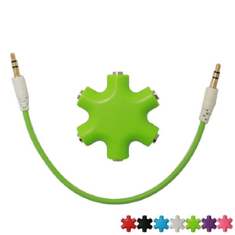 Voice Share Earphone Adapter 3.5mm Hexagon Audio Distributor Headphone Splitter Extension Cord 3.5 Jack Audio Adapter