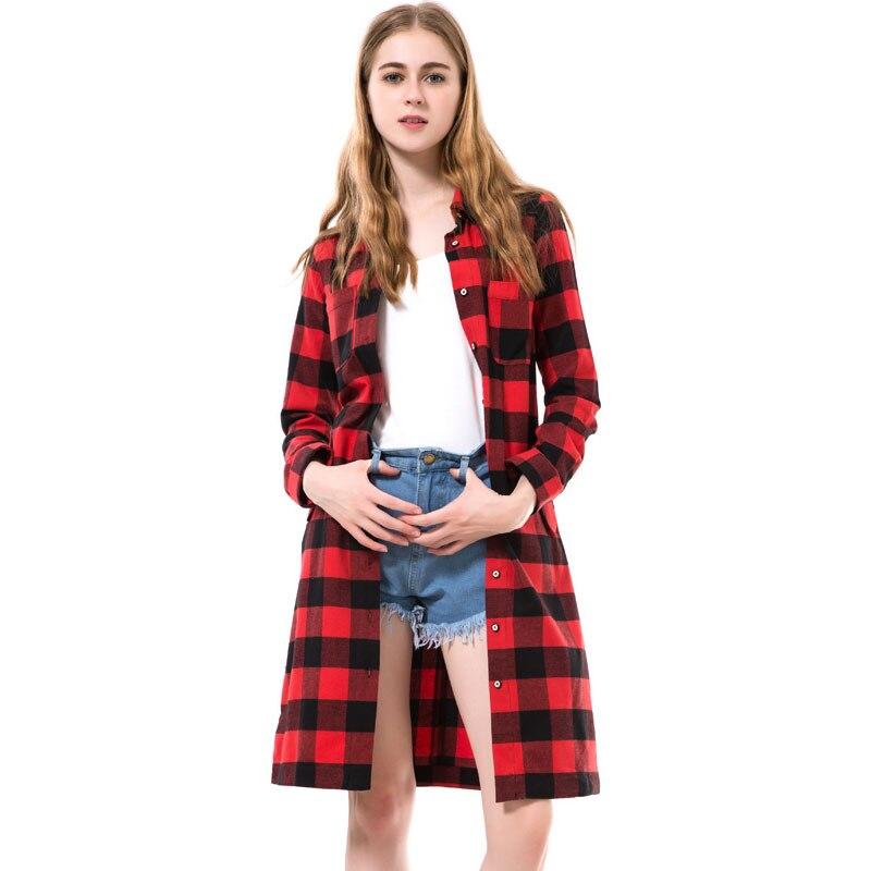 Dioufond autumn long shirts women red plaid blouses long for Red plaid dress shirt