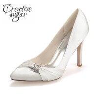Creativesugar ladies elegant pointed toe satin women's evening pumps bridal wedding heels hostess lady silver purple blue white