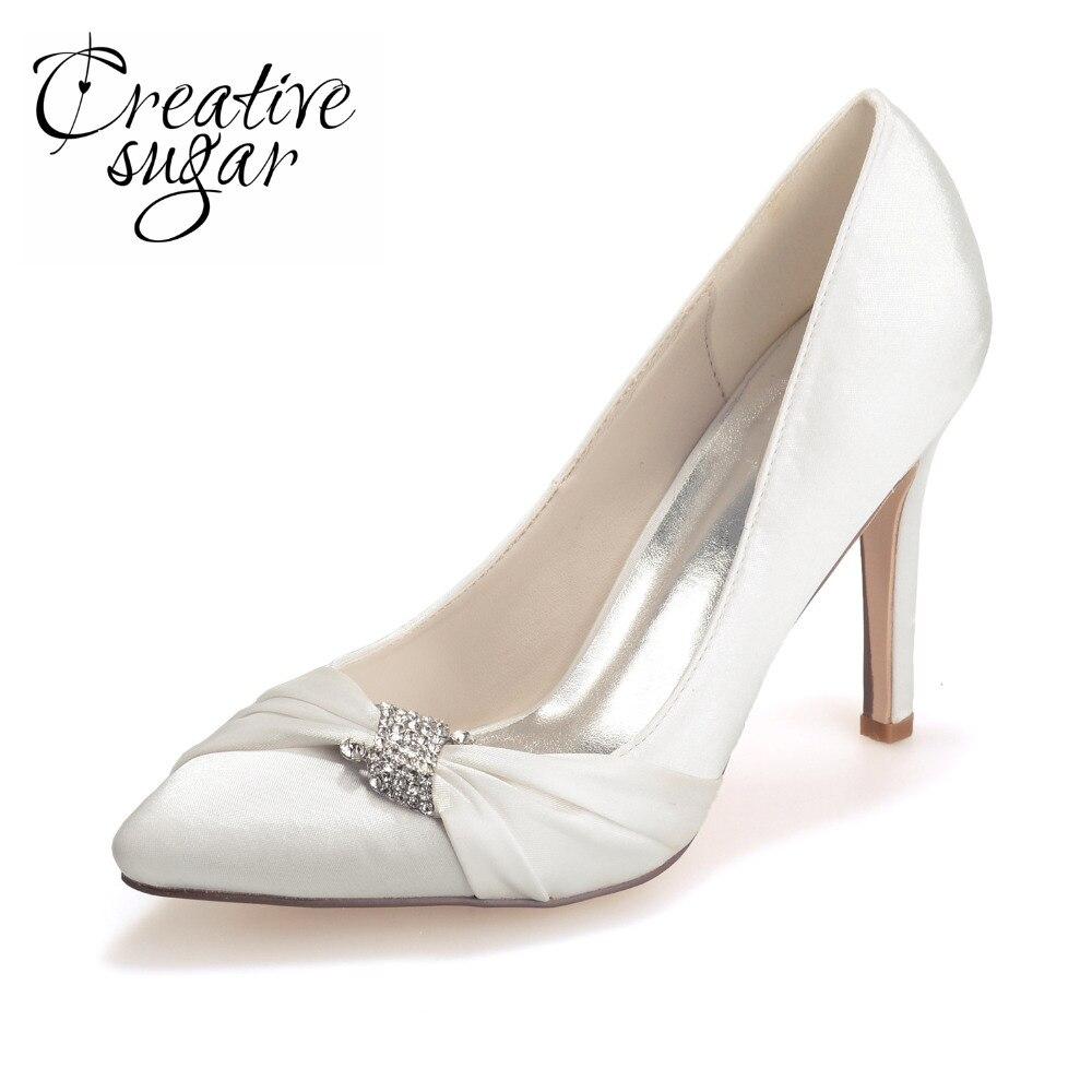 Creativesugar ladies elegant pointed toe satin women's evening pumps bridal wedding heels hostess lady silver purple blue white creativesugar elegant pointed toe lady