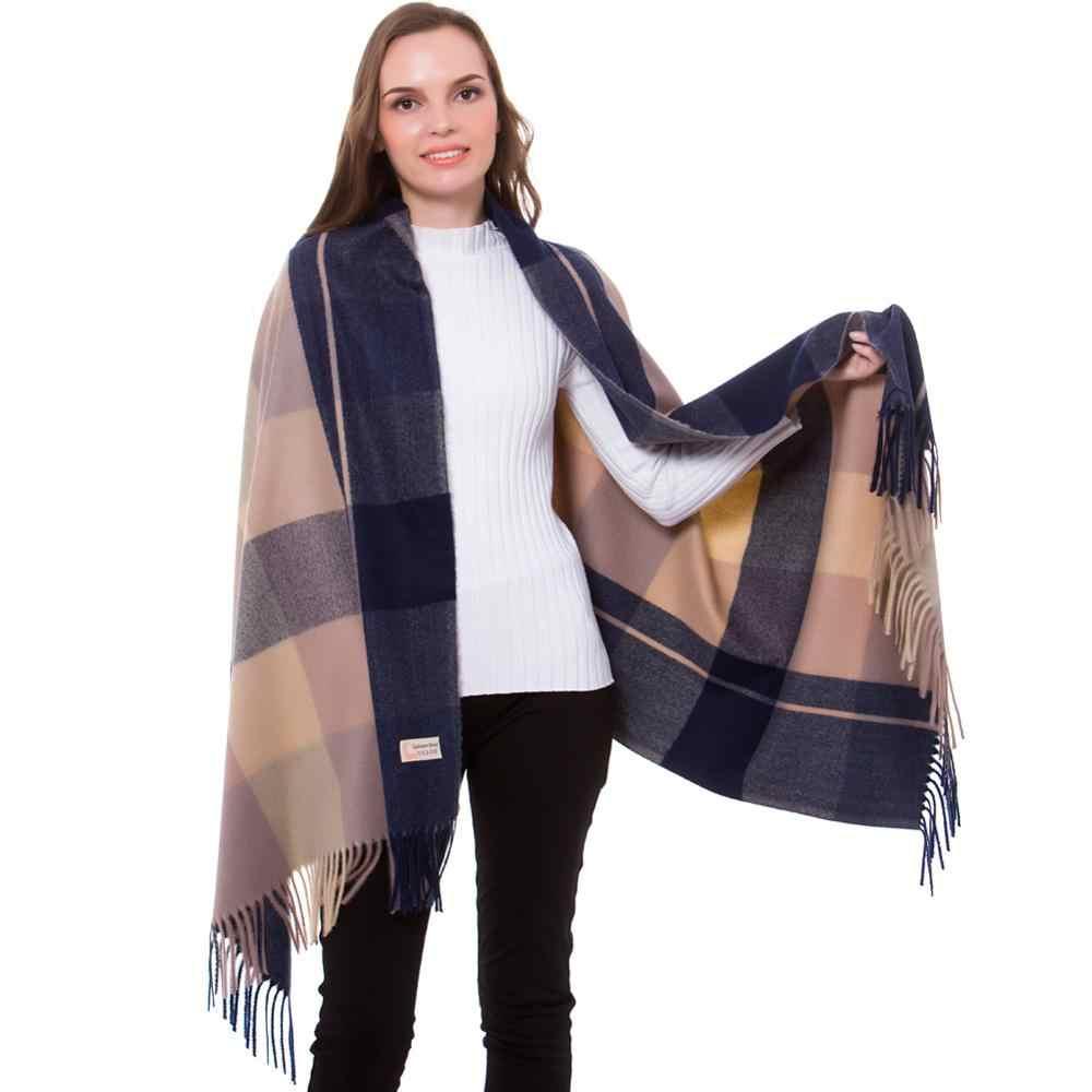 06e756c8bf Cashmere Shawl Pashmina Scarf Winter Stylish Check Plaid Autumn Wrap  Brushed Long Large Thick Tartan Tassel