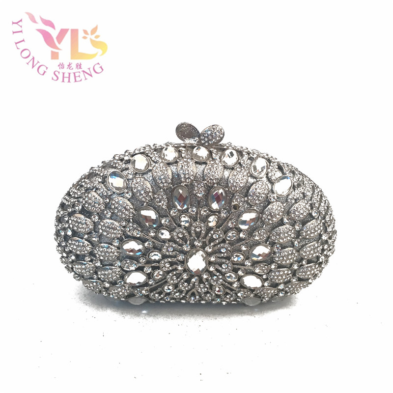 Silver Metallic Evening Bags Lady Clutches Silver Decorated with Crystals for Evening/Event/Cocktail Occasion YLS-G33 silver metal lady fashion evening bag silver stylish day clutches prom ladies handbag yls g74