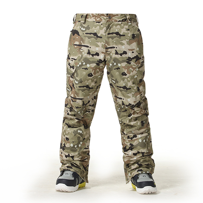 Gsou Snow Men' s Skiing Pants Single Double Board Male Style Outdoor Camouflage Windproof Warm Trousers Size XS-XL durable dabbling camouflage trousers size l