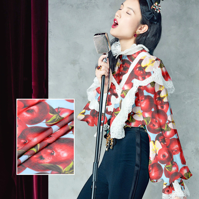 Imprimé soie tulle tissu été fruits tissu imprime robe en mousseline de soie tissu en gros tissu de soie tissu minky matériel