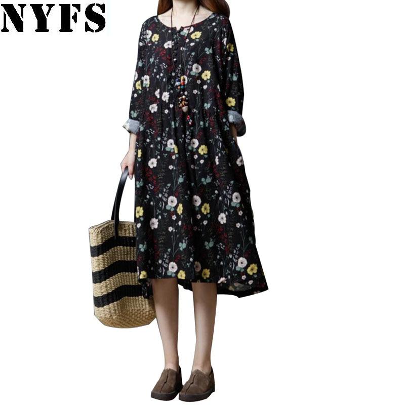 NYFS 2018 New Autumn women Dress Cotton Loose large Size Floral long Dress Vestidos Robe Elbise