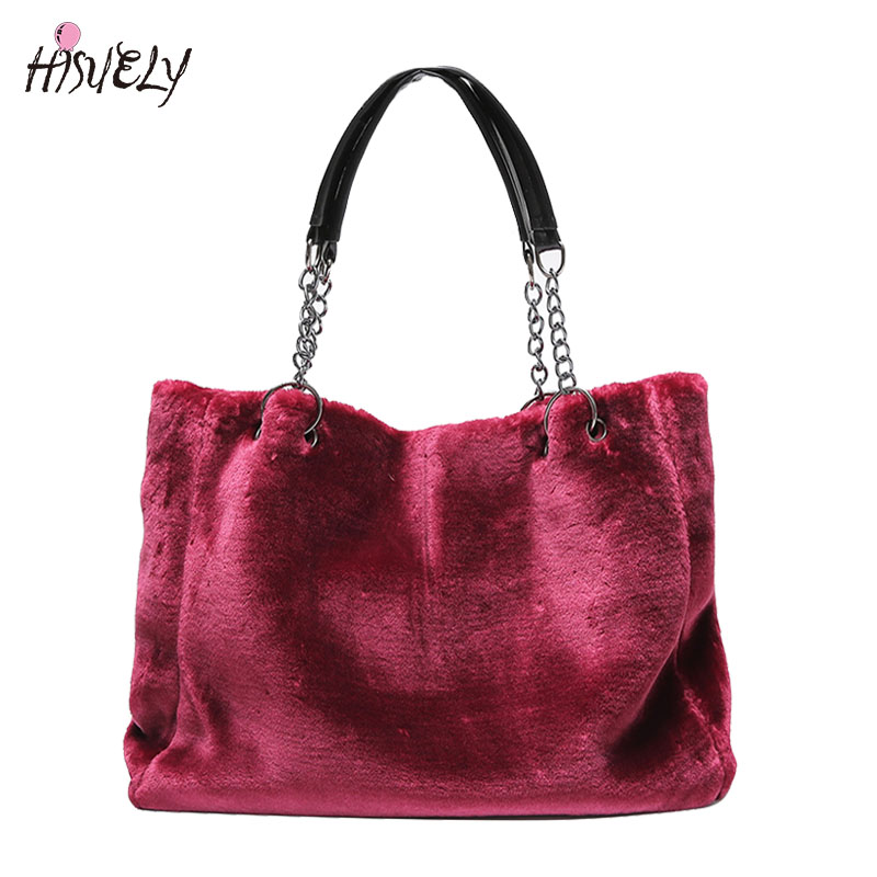 New Vintage Winter Women Plush Shoulder Bag Fashion Causal Women Totes Big Capacity Top Handle Handbags Fur Soft Lady Design Bag