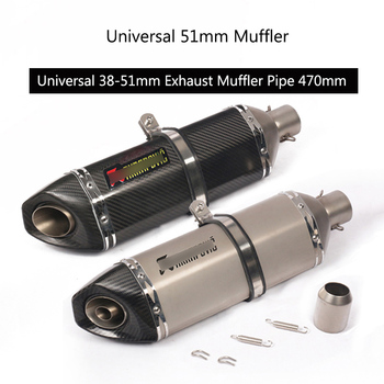 Universal 38-51 mm Muffler Motorcycle Exhaust Pipe Carbon Fiber Tail Escape Stainless Steel Modified Pipe for Dirt Bike Scooter