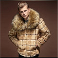 Fashion Mens Faux Fur coats plaid designer Long sleeve zipper Men's Faux Fur Yellow Thicken winter warm Fox fur collar jackets