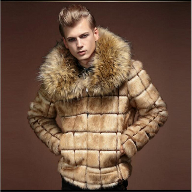 b66256ccb6c US $69.5 |Fashion Mens Faux Fur coats plaid designer Long sleeve zipper  Men's Faux Fur Yellow Thicken winter warm Fox fur collar jackets-in Faux ...