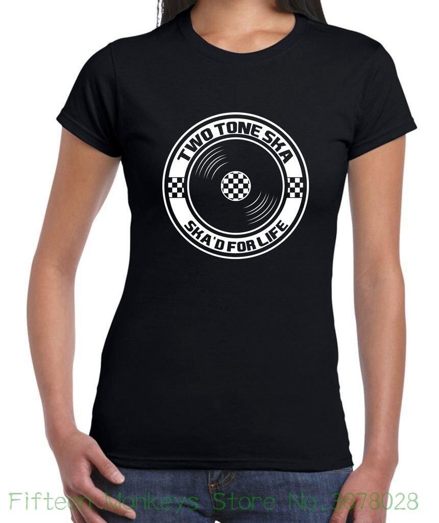 Womens Tee Ska 2 Tone Womens T-shirt - Specials Madness Mod Skinhead Punk T Shirt Fashion Short Sleeve O - Neck