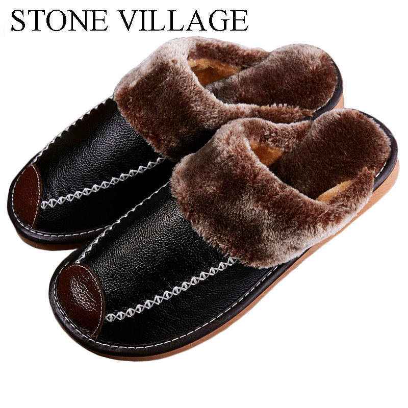 2020 Warm Genuine Leather Slippers Shoes Winter Lovers Men And Women Slippers Floor Non-Slip Home Slippers Indoor Shoes