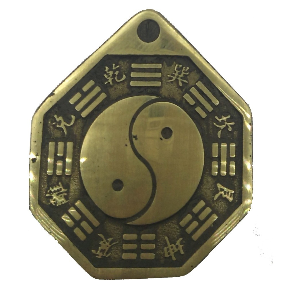 ANGRLY Copper Process Chinese Taiji Bagua Mirror 100% Pure Copper Mascot Ancient Coins Pendant Party Gift Home Decoration