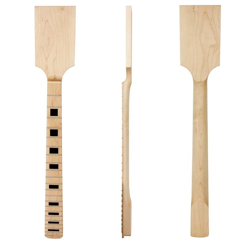 Kmise Paddle Guitar Neck Maple Wood 22 Jumbo Frets Block Inlay Unfinished Guitar Parts 2 set electric guitar neck paddle head maple 22 frets dot inlay unfinished