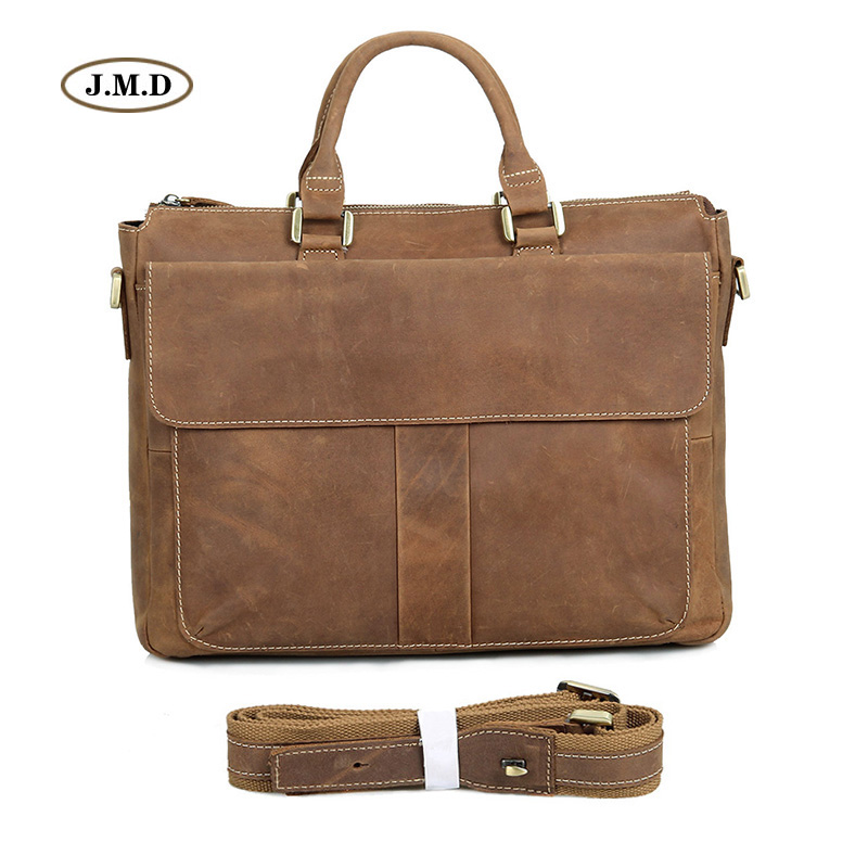 Augus Men's Fashion Genuine Leather Brown Briefcase Business Handbag Portable 15'' Laptop Bag Messenger Bag 7113