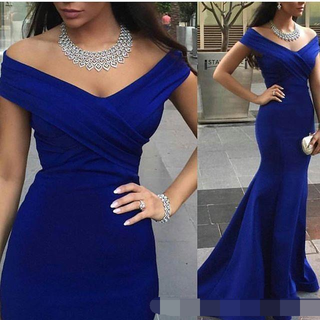 Charming Royal Blue Evening Prom Gown Backless Formal evening dress 2019 Occasion Mermaid Off the Shoulder robe de soiree