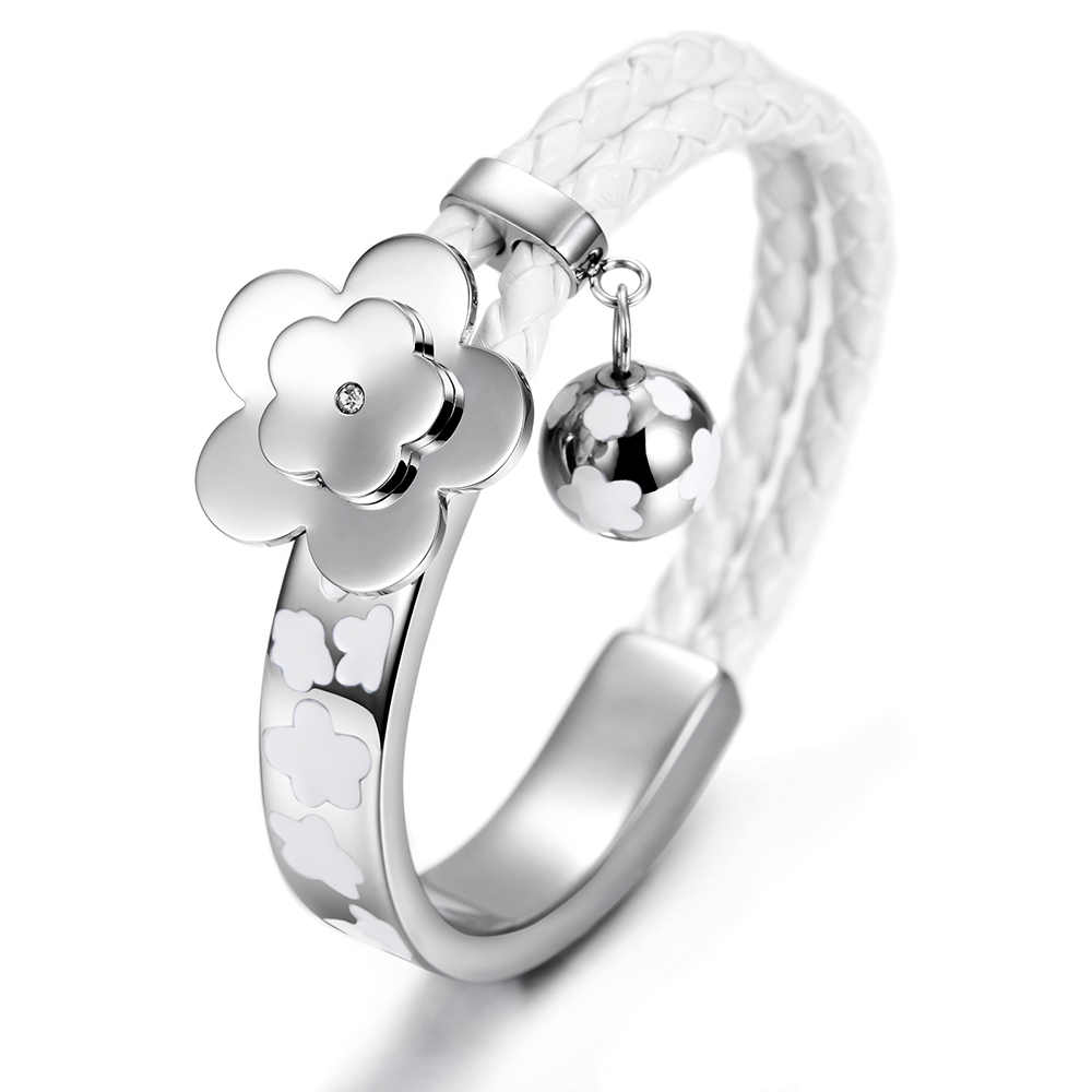Wistic Personiazed Girl Cuff Bracelets Bangle Flower Ball Tassel Leather  Bracelet Stainless Steel Silver Color Jewelry