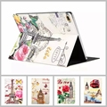 For iPad Mini 4 Cases Fashion Eiffel Tower Stand Leather Cover Flower Flora Print Case for iPad Mini 4 Luxury Coque Capa Para