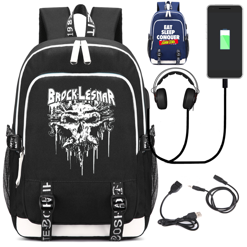 Brock Lesnar Unisex Backpack with USB Charging Port and Lock &Headphone interface for College Student Work Men & Women