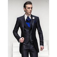 Nice Suit One button Navy Blue Peaked Lapel Groom Tuxedos Groomsmen Men Wedding Suit 3 Pieces Tuxedos (Jacket+Pants+Vest)