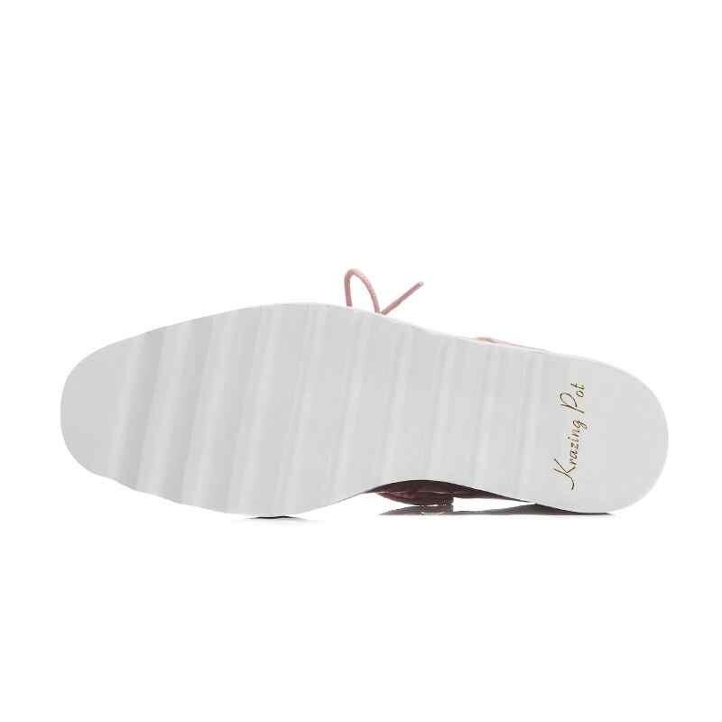 Krazing olla otoño zapatos de marca de cuero de vaca bordado vintage labios patrones de encaje cuñas plus tamaño de la Plataforma de las mujeres bombas L52-in Zapatos de tacón de mujer from zapatos    2