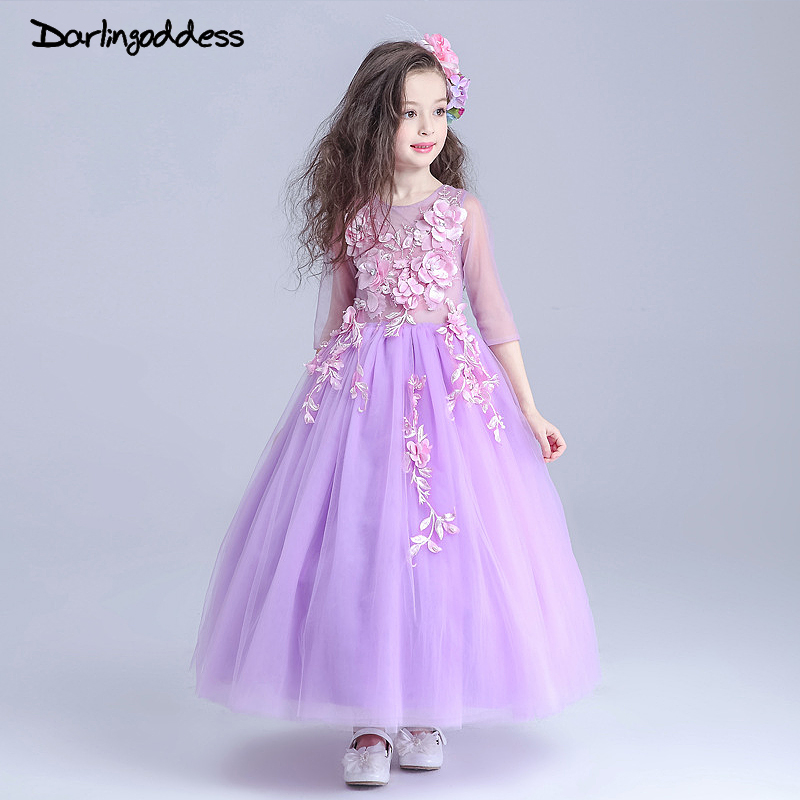 Cheap A Line Purple Pageant   Dresses   for Little   Girls   Appliques Lace   Flower     Girl     Dresses   2017 Vestidos de Primera Darlingoddess